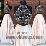 2 Pieces Rhinestone Beaded Top Satin Prom Dresses, Gorgeous Long Prom Dresses, TYP0412