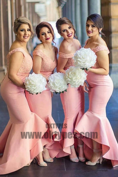 Baby Pink Mermaid Off the Shoulder Hi-Low with Ruffles Sweetheart Lace Top Bridesmaid Dress, TYP0468