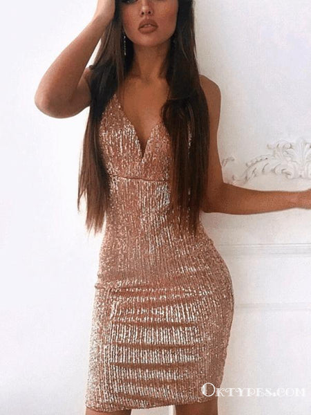 Sparkly Sexy Mermaid V Neck Backless Sequins Blush Short Cheap Homecoming Dresses, TYP2036