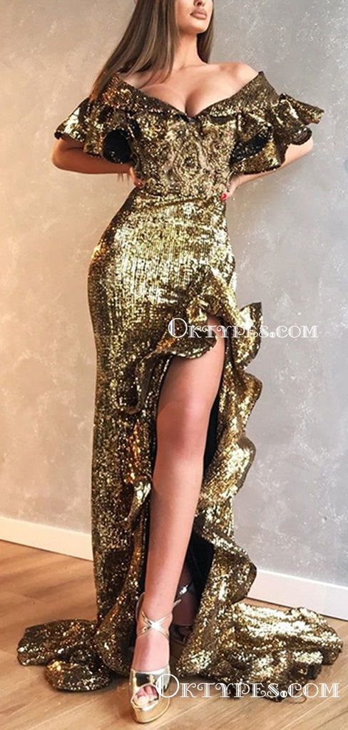 Off-The-Shoulder V-neck Sparkly Sequin Sexy High Side Slit Long Cheap Formal Evening Prom Dresses, TYP2098