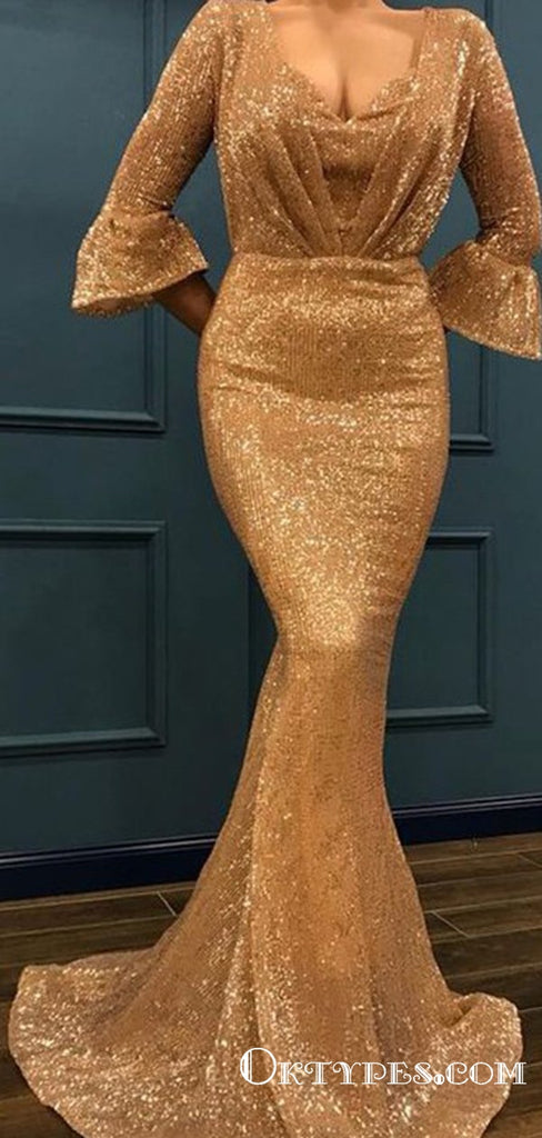 Mermaid 3/4 Sleeves V-neck Long Mermaid Ruffles Sequins Prom Dresses, TYP1693