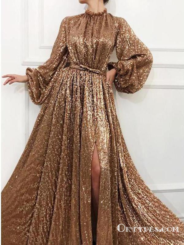 Charming A Line Long Sleeve Sequin High Neck Prom Dresses, TYP1748
