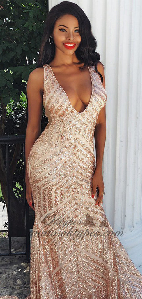 Modest Mermaid V-neck Sleeveless Gold Backless Sequined Prom Dresses, TYP1523