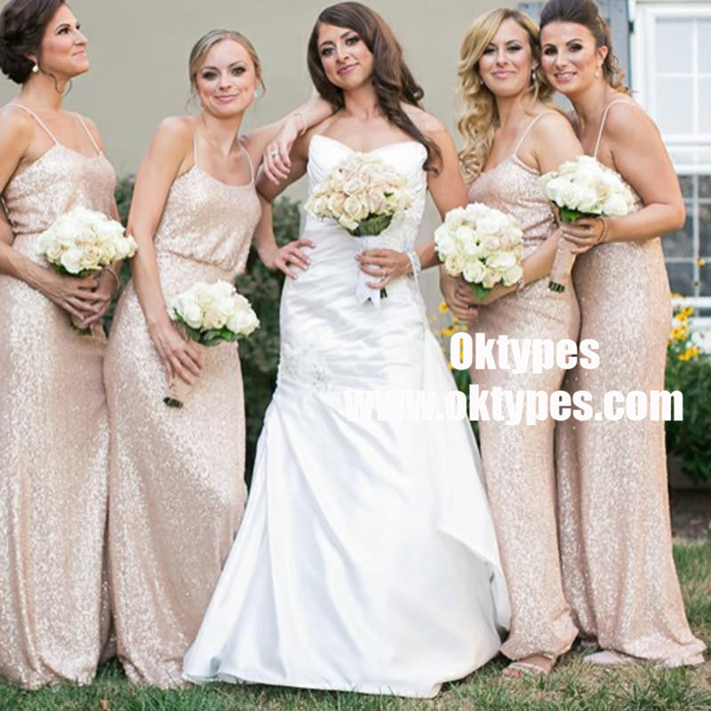 Spaghetti Straps Cheap Long Sequin Gold Bridesmaid Dresses With Sleeves, TYP0831
