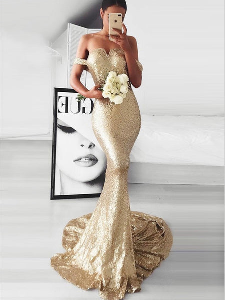 Mermaid Off-the-Shoulder Long Cheap Gold Sequined Prom Dresses, TYP1332