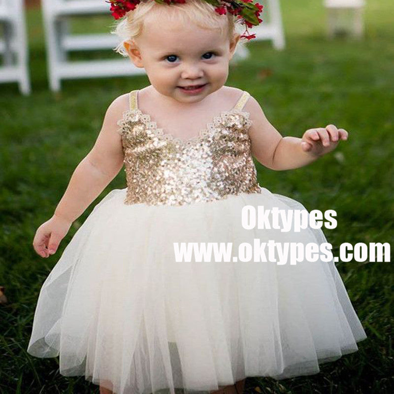 A-Line Straps White Tulle Flower Girl Dress with Lace Sequins, TYP0869