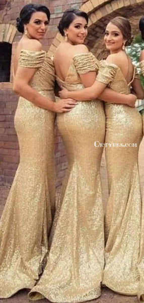 Sparkly Gold Sequin Off-The-Shoulder Mermaid Long Cheap Bridesmaid Dresses, BDS0045