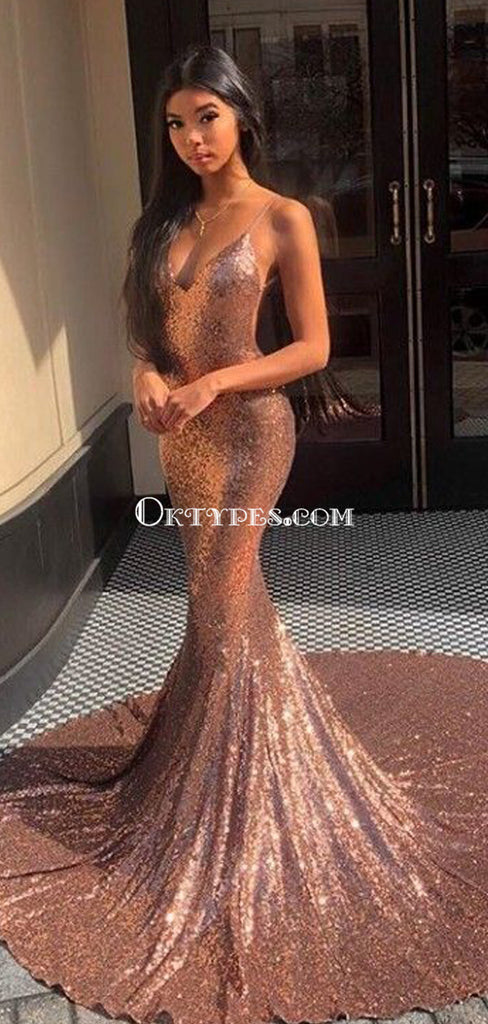Spaghetti Straps Rose Gold Mermaid Evening Prom Dresses, Evening Party Prom Dresses, PDS0100