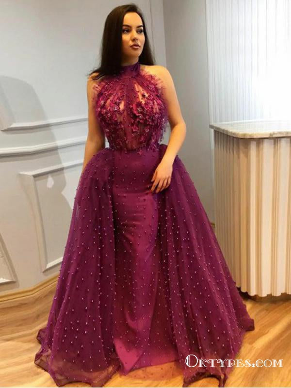 Mermaid Halter Detachable Train Purple Long Prom Dresses with Appliques&Beaded, TYP1624