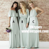 Mismatched Chiffon Light Green Long Bridesmaid Dresses Online, TYP0874