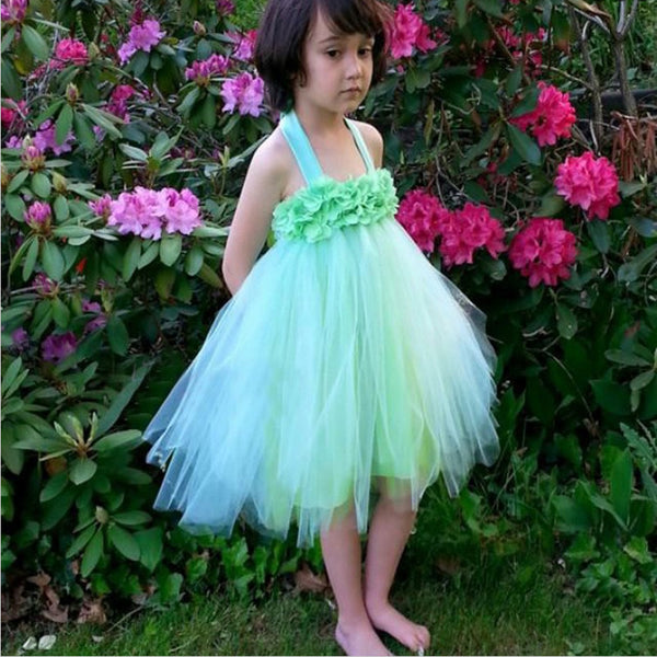 0f4f4fbdf A-Line Halter Backless Mint Green Flower Girl Dresses with Flowers, TYP1328