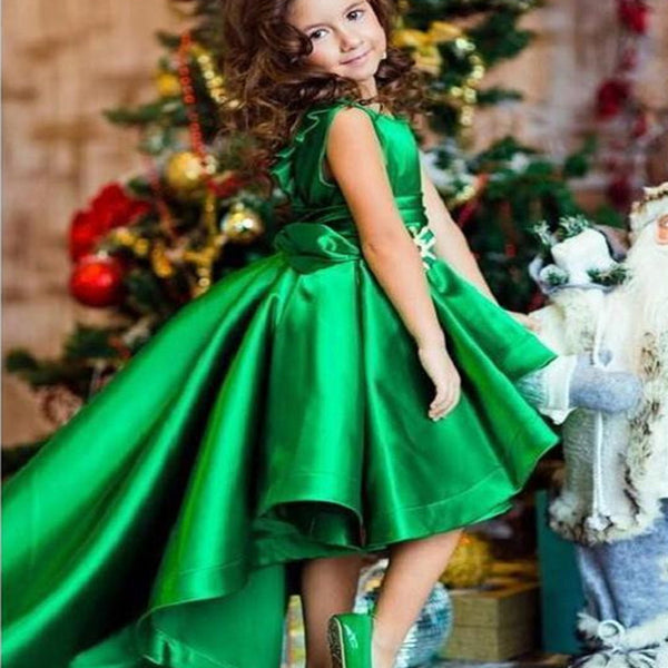b506da567be Green Party Dresses For Kids High Low Cheap Flower Girl Dresses ...