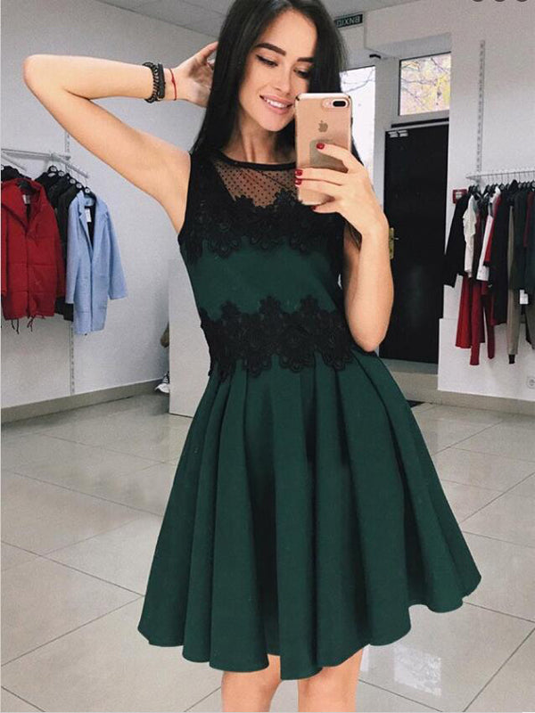 Elegant Round Neck Green Short Cheap Homecoming Dresses with Appliques, TYP1087