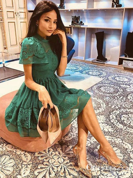 A-Line High Neck Short Sleeves Green Lace Homecoming Dresses, TYP2016