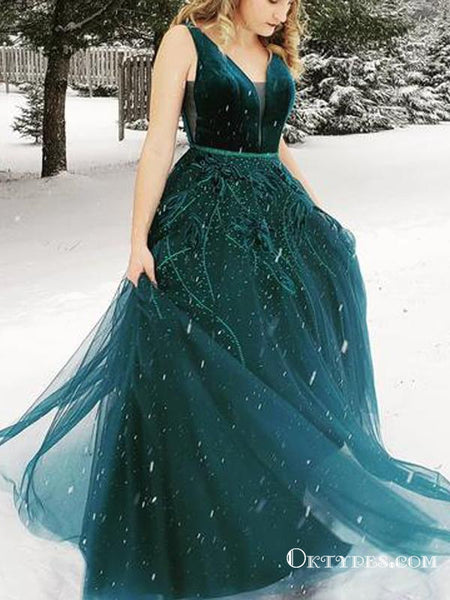 44e81829e9e Charming Princess V Neck Dark Green Long Prom Dresses With Applique ...