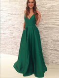 A-line V-Neck Long Cheap Pleated Green Satin Prom Dresses with Pockets, TYP1281