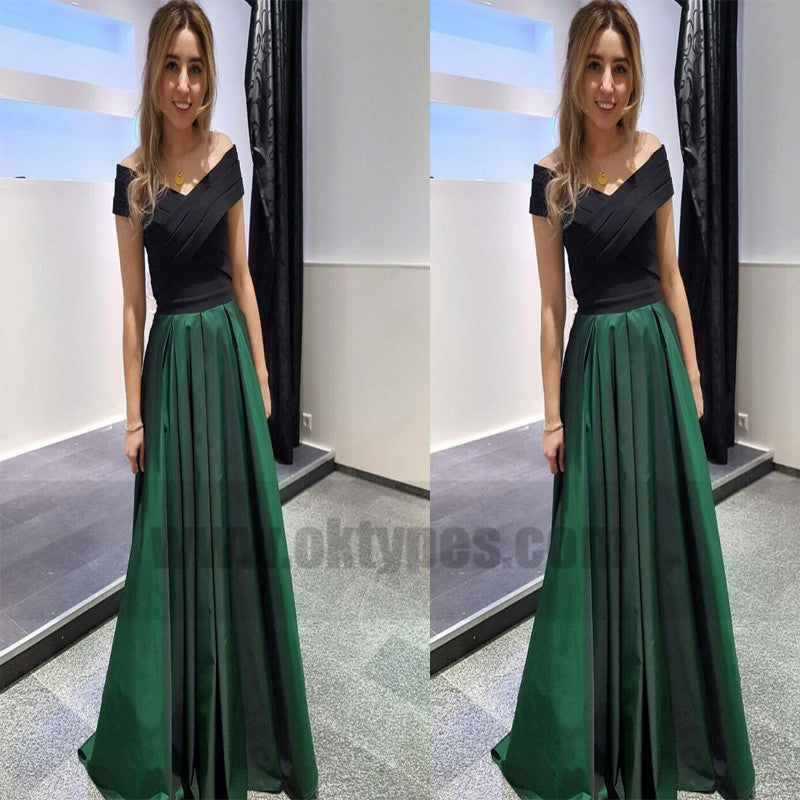 Off-shoulder Green Satin A-line Prom Dresses, Elegant Cheap Evening Dresses, TYP0747