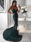 Mermaid Spaghetti Straps Long Cheap Dark Green Sequined Prom Dresses, TYP1273