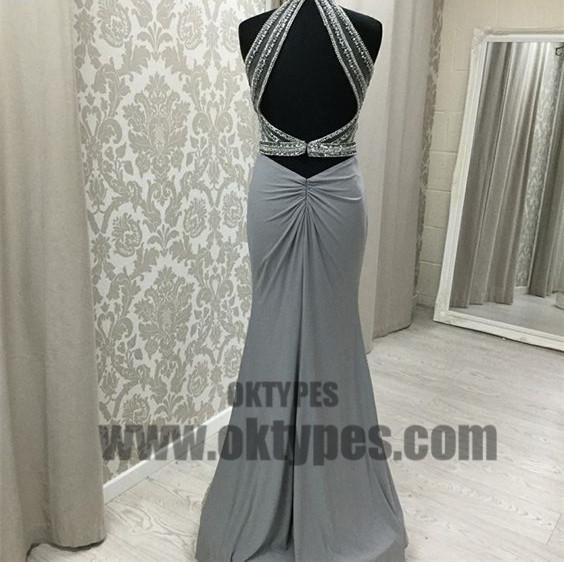 Grey Long Top Beaded Open Back Halter Prom Dresses, Sexy Prom Dresses, TYP0585