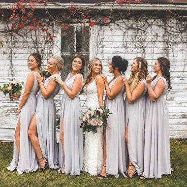 a8173f8a6a A-Line V-neck Backless Long Cheap Light Grey Chiffon Bridesmaid Dresses  with Split, TYP1366 A-Line V-neck Backless Long Cheap Light Grey Chiffon ...