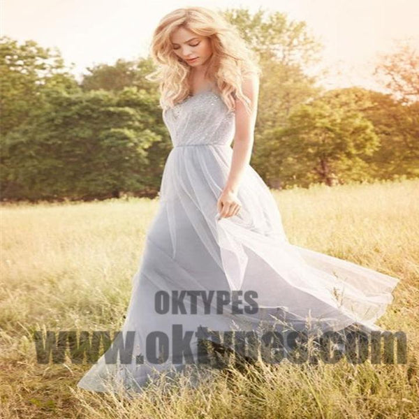 Grey Long Top Lace Tulle Bridesmaid Dresses, Lovely And Pretty Bridesmaid Dresses, TYP0589