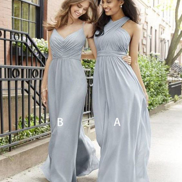 11b73fd1dda Pretty Cross Neck Long Cheap Grey Chiffon Bridesmaid Dresses Online ...