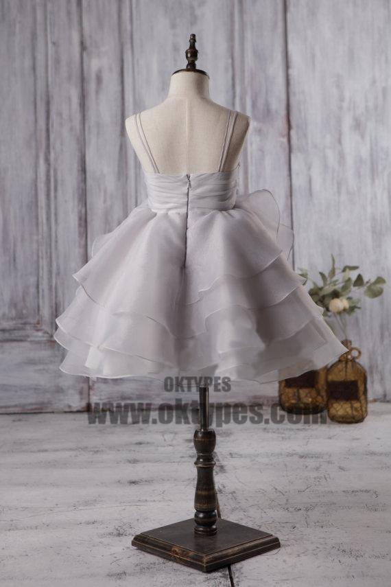 Cute Light Grey Organza Bustled Flower Little Girl Dresses, Cheap Flower Girl Dresses, TYP0624