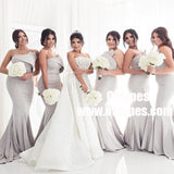 Mermaid Strapless Sweep Train Grey Satin Bridesmaid Dresses, TYP0932