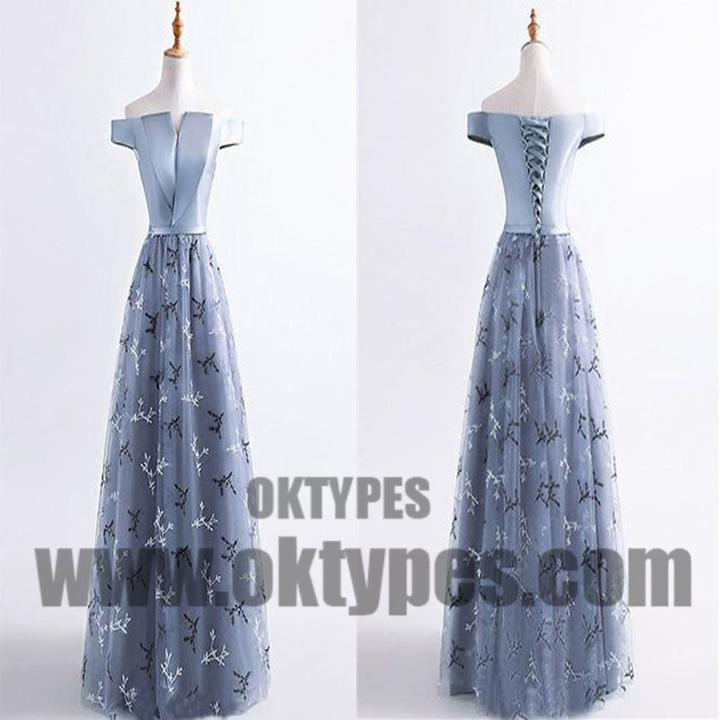 Grey Long Top Satin Appliques Off Shoulder Lace Up Tulle Prom Dresses, Prom Dresses, TYP0505