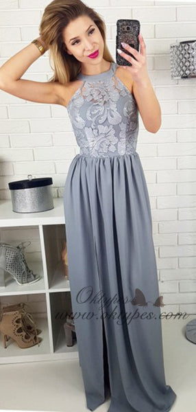 A-Line Round Neck Neck Long Grey Satin Prom Evening Dress with Lace Split, TYP1493