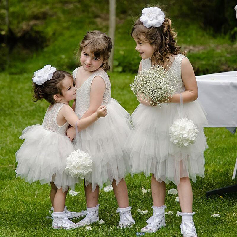 Ball Gown Round Neck Grey Tiered Flower Girl Dress with Lace, TYP1153