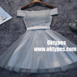 Off Shoulder Grey Tulle Short Cheap Homecoming Dresses 2018, TYP0885