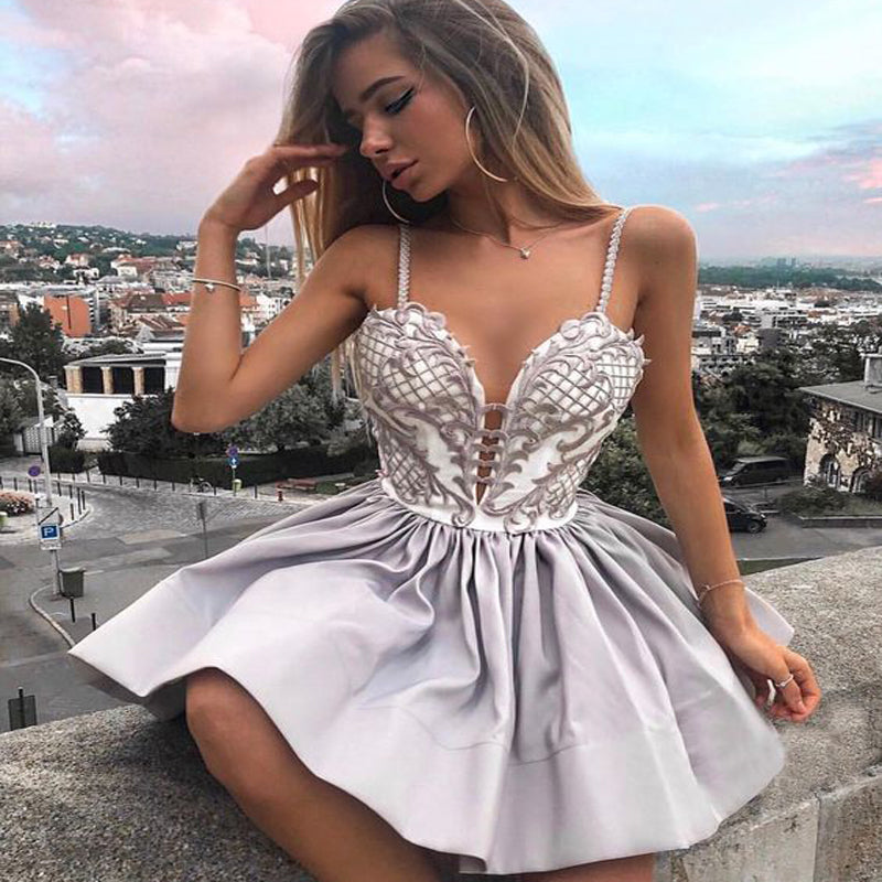 Sexy Spaghetti Straps Grey Short Cheap Homecoming Dresses with Appliques, TYP1063