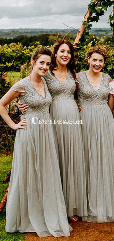 New Arrival V-neck Cap Sleeve Grey Tulle Beaded A-line Long Cheap Bridesmaid Dresses, BDS0063