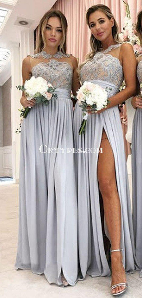 Popular Bateau Neckline Grey Chiffon Appliqed Side Slit A-line Long Cheap Bridesmaid Dresses, BDS0069