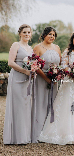Mismatched Charming Grey Chiffon Long Floor-Length Cheap Bridesmaid Dresses, BDS0042