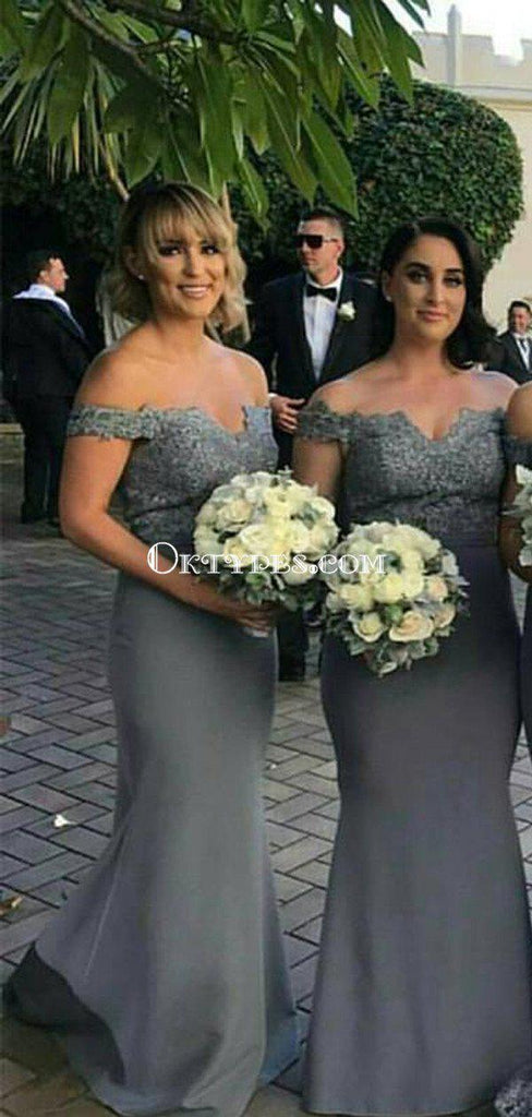 Grey Off-The-Shoulder  Mermaid Long Cheap Bridesmaid Dresses, BDS0071