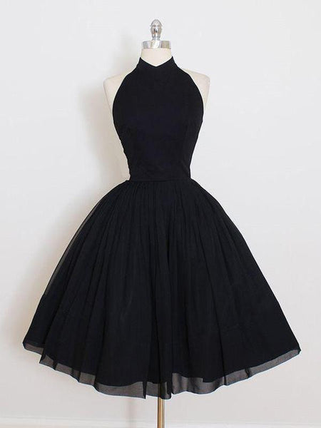 Black Halter Simple Cheap Short Homecoming Dresses 2018, CM547