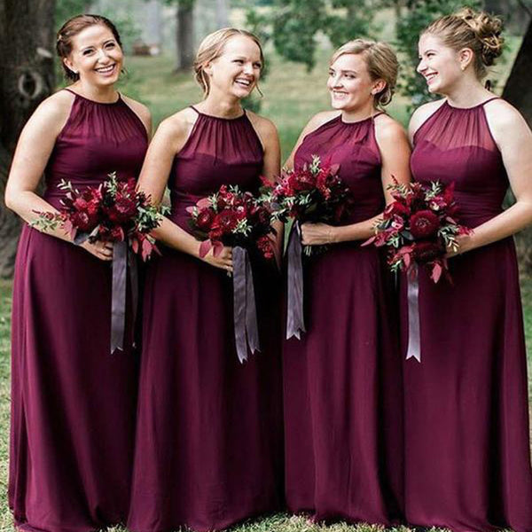 Plus Size Burgundy Long Cheap Chiffon Bridesmaid Dresses with Halter Neck,  TYP1232 Plus Size Burgundy Long Cheap Chiffon Bridesmaid Dresses with ...