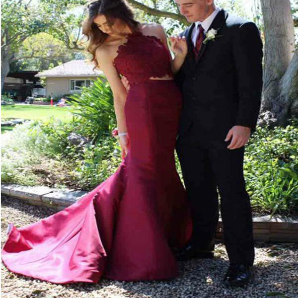 Red Long Floor Length Prom Dresses, Side Split Prom Dresses, Halter Prom Dresses, Open-back Prom Dresses, Beading Prom Dresses, TYP0252