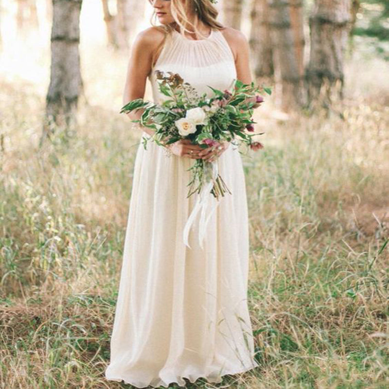 Simple Round Neck Long Cheap Chiffon Beach Wedding Dresses Online, TYP1059