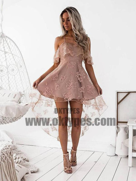 Off Shoulder High Low Dusty Pink Lace Homecoming Dresses 2018, TYP0664