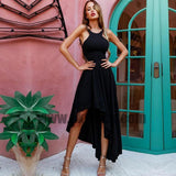 Black Jersey Hi-low Simple Design Chic Long Prom Dresses, Cheap Prom Dresses, TYP0644