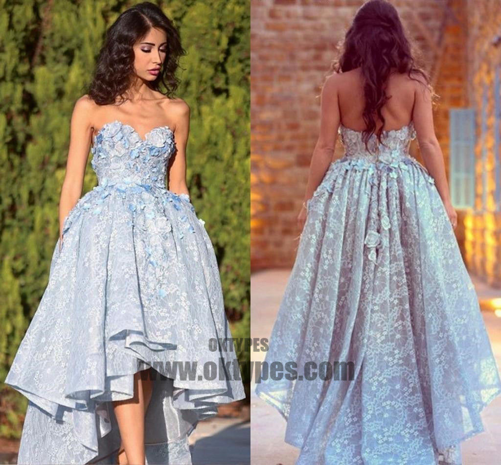 High Low Prom Dresses, Lace Sweetheart Prom Dresses, Appliques ...