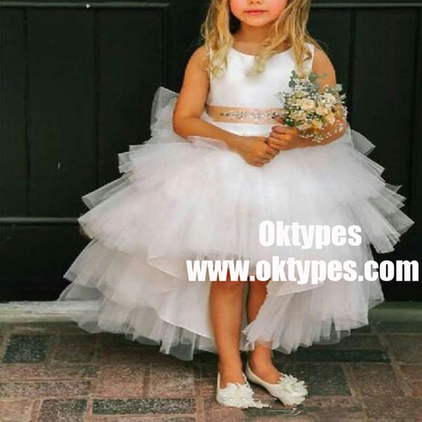 A-Line Asymmetry Train White Tulle Flower Girl Dress with Beading, TYP0948