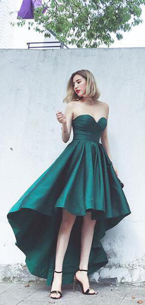 High Low  A-line Sweetheart Satin Hunter Long Prom Dresses Online, TYP1359