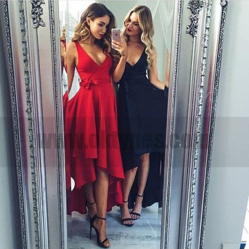 High Low V Neck Simple Cheap Short Red Homecoming Dresses Online, TYP0784