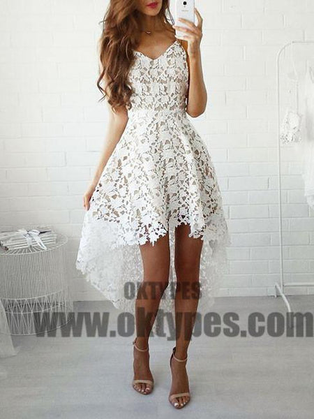 2018 Homecoming Dress, Asymmetrical Lace Short Prom Dress Party Dress, TYP0689