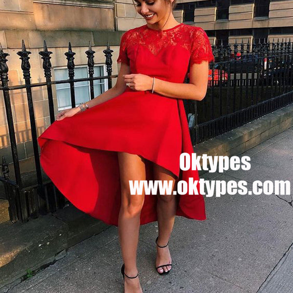 A-Line Jewel High Low Red Homecoming Party Dress with Lace, TYP0941
