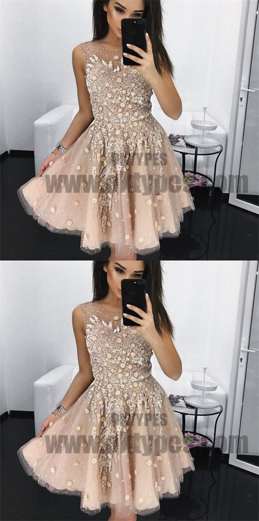 A-Line Round Neck Short Blush Homecoming Dresses with Beading, Homecoming Dresses, TYP0711
